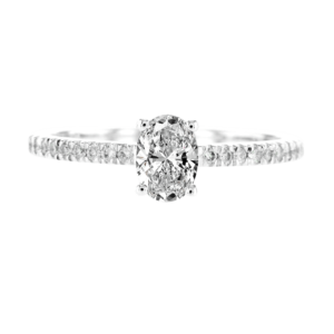 Oval Diamond Ring White Gold