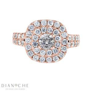Double halo split shank cushion cut diamond ring rose gold