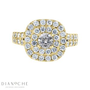 Double halo split shank cushion cut diamond ring yellow gold