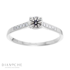Bezel diamond ring white gold