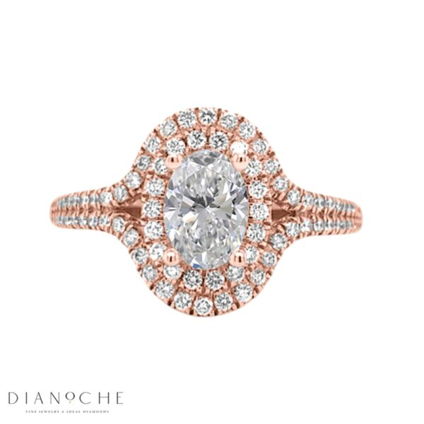 Double halo oval diamond ring rose gold