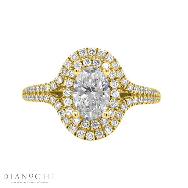 Double halo oval diamond ring yellow gold