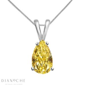 Drop cut yellow diamond pendant white gold