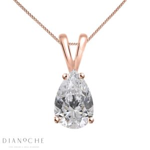 Drop shaped diamond pendant rose gold