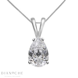 Drop shaped diamond pendant white gold
