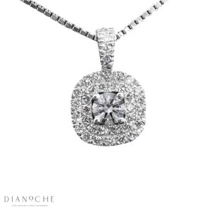 Double Halo Diamond Pendant white gold