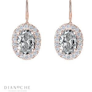 Hanged Oval Shaped Diamond Earrings rose gold