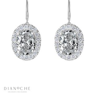 Hanged Oval Shaped Diamond Earrings white gold