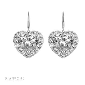 Hanged Heart Shaped Diamond Earrings white gold