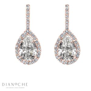 Hanged Pear Shaped Diamond Earrings rose gold