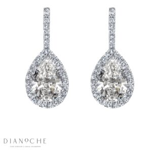 Hanged Pear Shaped Diamond Earrings white gold