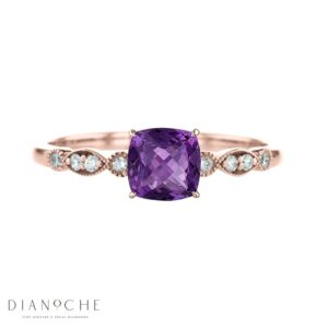 amethyst diamond ring vintage rose gold