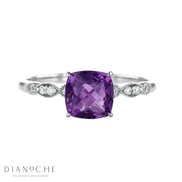 amethyst diamond ring vintage white gold