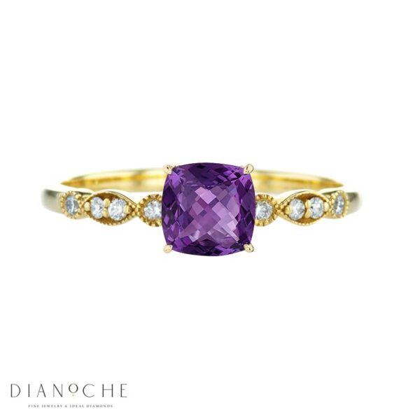 amethyst diamond ring vintage yellow gold