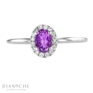Oval amethyst ring with diamonds white gold