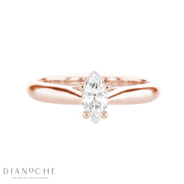 Solitaire diamond ring – marquise rose gold
