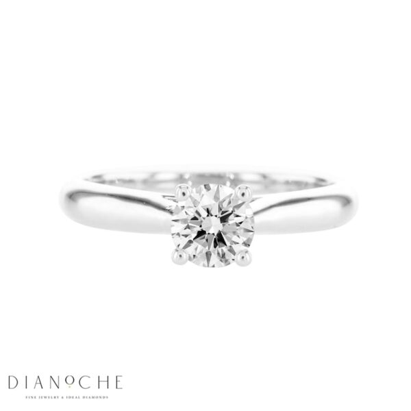 Round Solitaire Ring white gold
