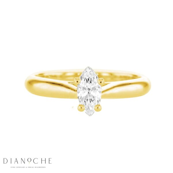 Solitaire diamond ring – marquise yellow gold