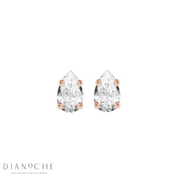 Stud Earrings Pear Shaped Diamonds rose gold