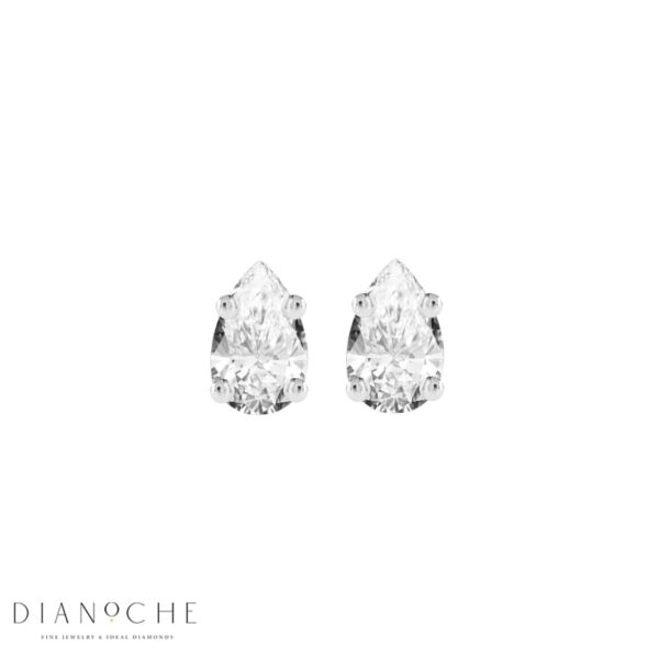 Stud Earrings Pear Shaped Diamonds white gold