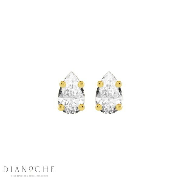 Stud Earrings Pear Shaped Diamonds yellow gold