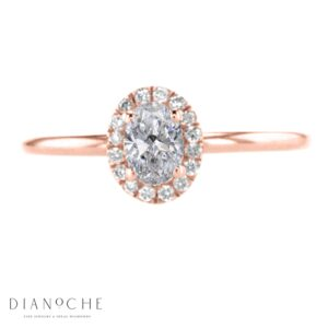 oval cut diamond halo ring rose gold