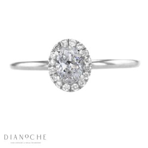 oval cut diamond halo ring white gold