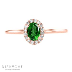oval cut emerald ring rose gold