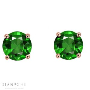 Emerald earring studs rose gold