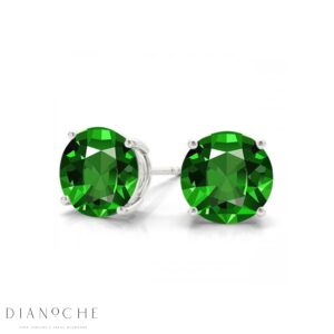 Emerald earring studs white gold