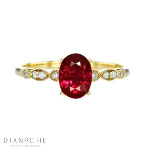 vintage garnet and diamond ring yellow gold
