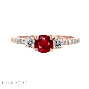 garnet ring with diamond accent rose gold