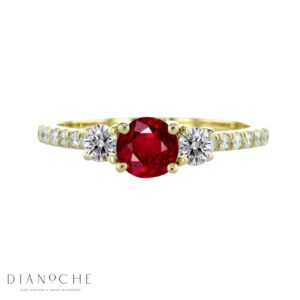 garnet ring with diamond accent yellow gold
