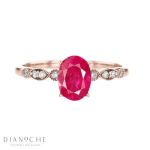 vintage ruby and diamond ring rose gold