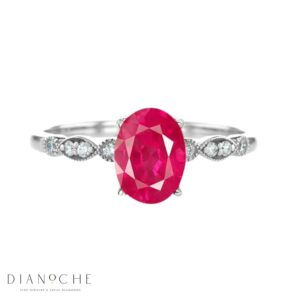 vintage ruby and diamond ring white gold