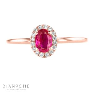 Oval ruby ring with diamonds rose gold