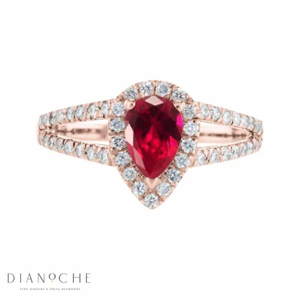 pear shaped ruby and diamond ring rose gold