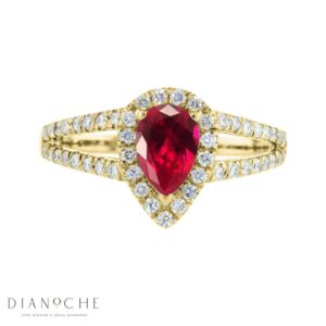 pear shaped ruby and diamond ring yellow gold
