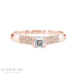 Wide Side Stones Asscher Diamond Ring rose gold