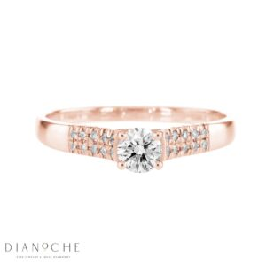 Wide Side Stones Round Diamond Ring rose gold