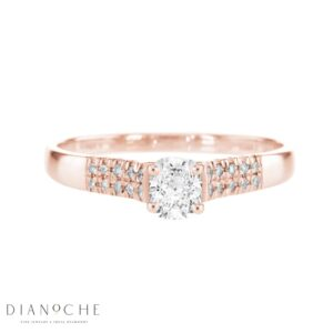 Wide Side Stones Cushion Diamond Ring rose gold