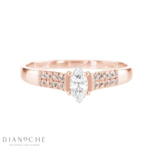 Wide Sidestones Marquise Diamond Ring rose gold