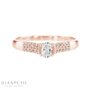 Wide Side Stones Oval Diamond Ring rose gold