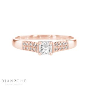Wide Sidestones Princess Diamond Ring rose gold