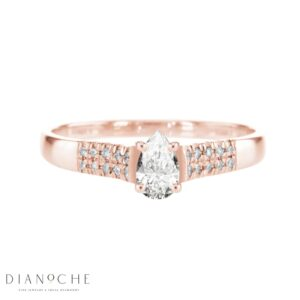 Wide Side Stones Pear Shape Diamond Ring rose gold