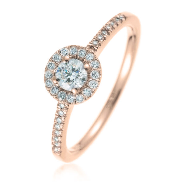 Small Halo Engagement Rings rose gold