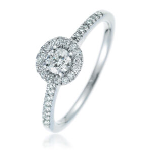 Small Halo Engagement Rings white gold