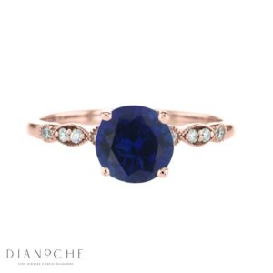 vintage round sapphire ring rose gold