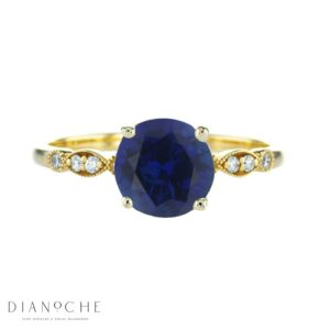 vintage round sapphire ring yellow gold