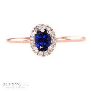 Oval sapphire ring with diamonds rose gold